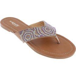 Capelli Womens Rhinestone Flip Flops