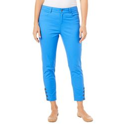 Caribbean Joe Womens Button Hem Crop Pants