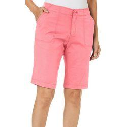 Caribbean Joe Womens Solid Bermuda Shorts