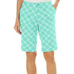 Caribbean Joe Womens Lattice Print Bermuda Shorts