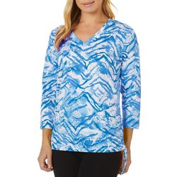 Caribbean Joe Womens Graphic Animal Ruched Side Tie Top