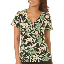 Caribbean Joe Womens Jungle Blossom Print Woven Top