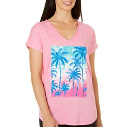 Caribbean Joe Womens Palm Print V-Neck T-Shirt