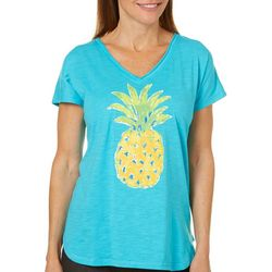 Caribbean Joe Womens Tropical Pineapple T-Shirt