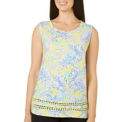 Caribbean Joe Womens Embellished Coastal Tank Top