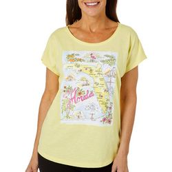 Caribbean Joe Womens Florida Landmark Map Top