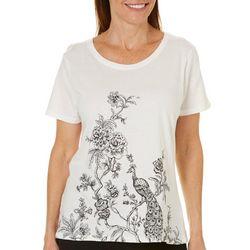 Caribbean Joe Womens Floral Peacock T-Shirt