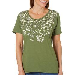 Caribbean Joe Womens Floral Print T-Shirt