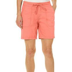 Caribbean Joe Womens Solid Drawstring Shorts