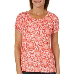 Caribbean Joe Womens Medallion Tie Dye Split Shoulder Top