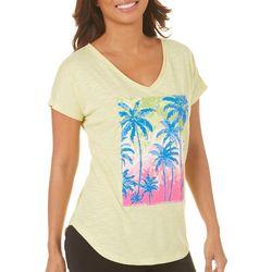 Caribbean Joe Womens Palm Print V-Neck T-Shirt