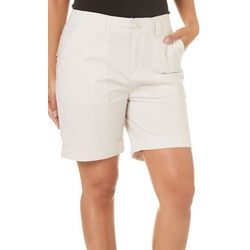 Caribbean Joe Womens Solid Rolled Hem Shorts