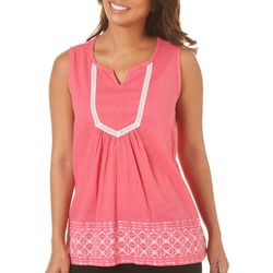 Caribbean Joe Womens Lace Trim Sleeveless Top