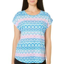 Caribbean Joe Womens Island Ikat Print Top