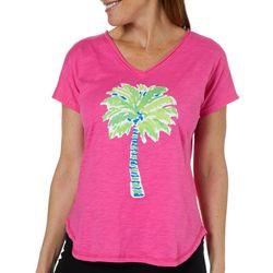 Caribbean Joe Womens Painted Palm Tree T-Shirt
