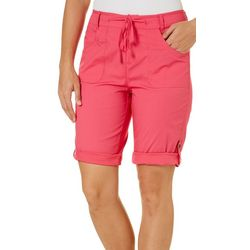 Caribbean Joe Womens Solid Roll Tab Bermuda Shorts