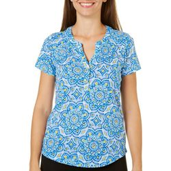 Caribbean Joe Womens Medallion Print Henley Top