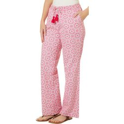 Caribbean Joe Womens Tassel Drawstring Pants