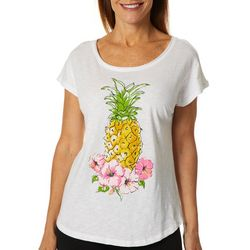 Caribbean Joe Womens Pineapple Hibiscus Top