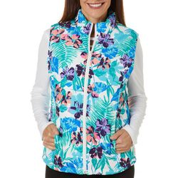 Caribbean Joe Womens Tropical Palm Print Zippered Vest