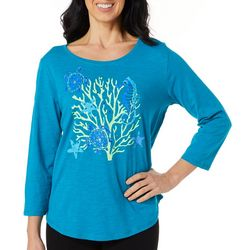 Caribbean Joe Womens Embellished Coral Reef Top