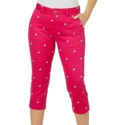 Caribbean Joe Womens Flamingo Print Crop Pants