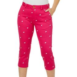 Caribbean Joe Womens Flamingo Print Crop Pants