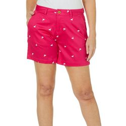 Caribbean Joe Womens Flamingo Print Shorts