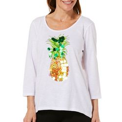 Caribbean Joe Womens Embellished Tropical Pineapple Top