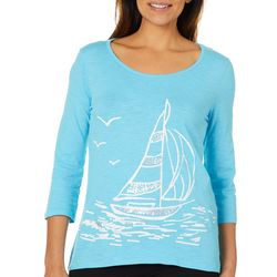 Caribbean Joe Womens Embellished Sailboat Top