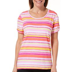 Caribbean Joe Womens Striped Twist Sleeve T-Shirt