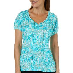 Caribbean Joe Womens Abstract Leaves Tie Neck Top