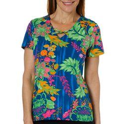 Caribbean Joe Womens Vibrant Floral Crisscross Top