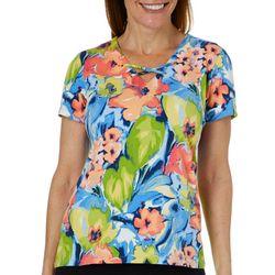 Caribbean Joe Womens Watercolor Floral Crisscross Top