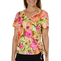 Caribbean Joe Womens Ruched Watercolor Floral Top