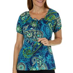 Caribbean Joe Womens Paisley Print Tie Neck Top