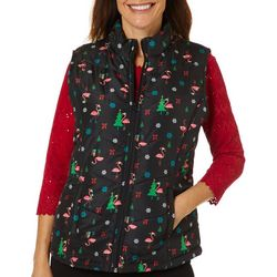 Caribbean Joe Womens Festive Holiday Print Zippered Vest