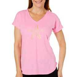 Caribbean Joe Womens Shiny Starfish T-Shirt