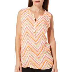 Caribbean Joe Womens Chevron Print Sleeveless Top
