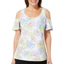 Caribbean Joe Womens Leaf Print Cold Shoulder Top