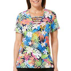 Caribbean Joe Womens Tropical Floral Palm Ladder Neck Top