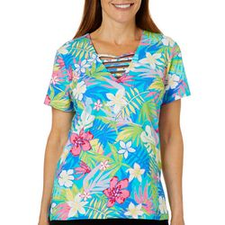 Caribbean Joe Womens Tropical Floral Printed Bar Neck Top