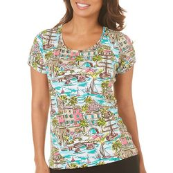 Caribbean Joe Womens By the Sea Split Sleeve Top