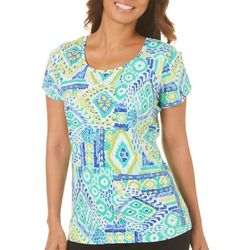Caribbean Joe Womens Tiki Print Split Sleeve Top
