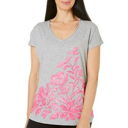 Caribbean Joe Womens Tropical Hibiscus T-Shirt