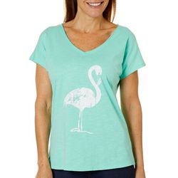 Caribbean Joe Womens Flamingo V-Neck Top