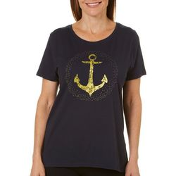 Caribbean Joe Womens Crackled Anchor T-Shirt