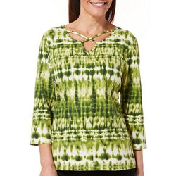 Caribbean Joe Womens Tie Dye Caged Neck Top
