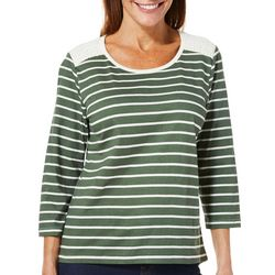 Caribbean Joe Womens Striped Lace Panel Top