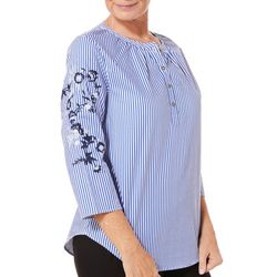 Caribbean Joe Womens Striped Embroidered Floral Top